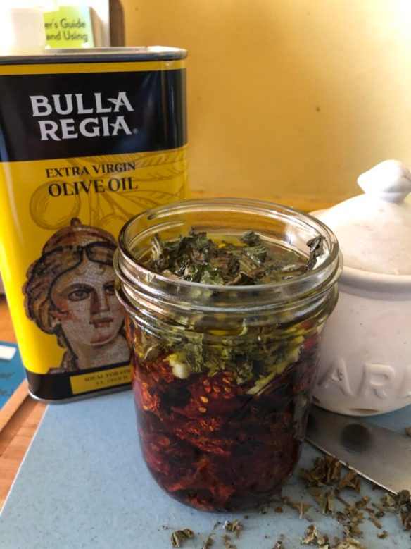 Dried tomatoes in olive oil recipe.