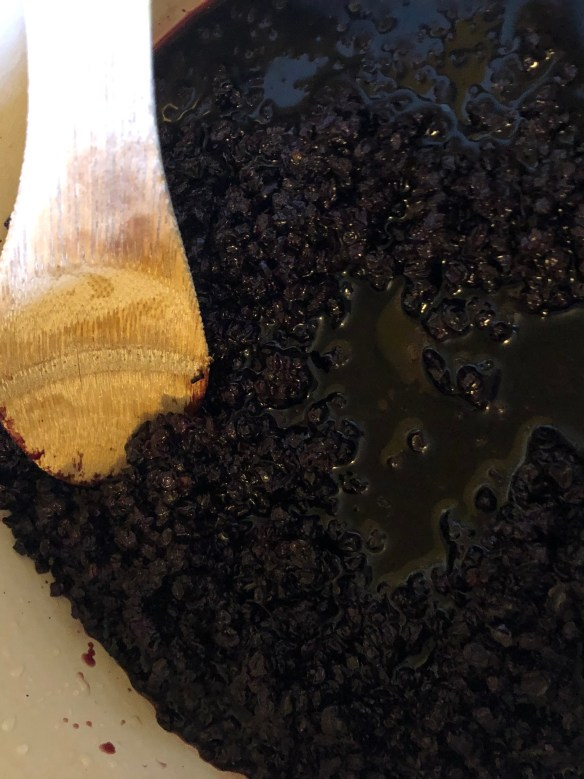 rehydrated elderberry for jam from dried elderberries