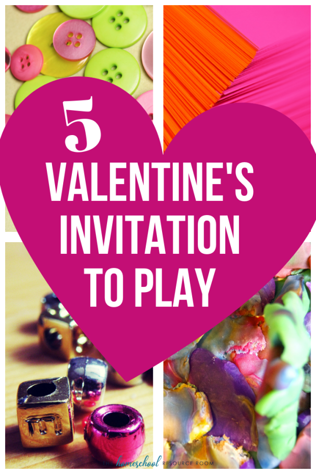 Check out these 5 fun Valentine's Day Activities! The perfect invitation to play with beads, buttons, doh, and more! Fun open-ended play for preschool and kindergarten kids!