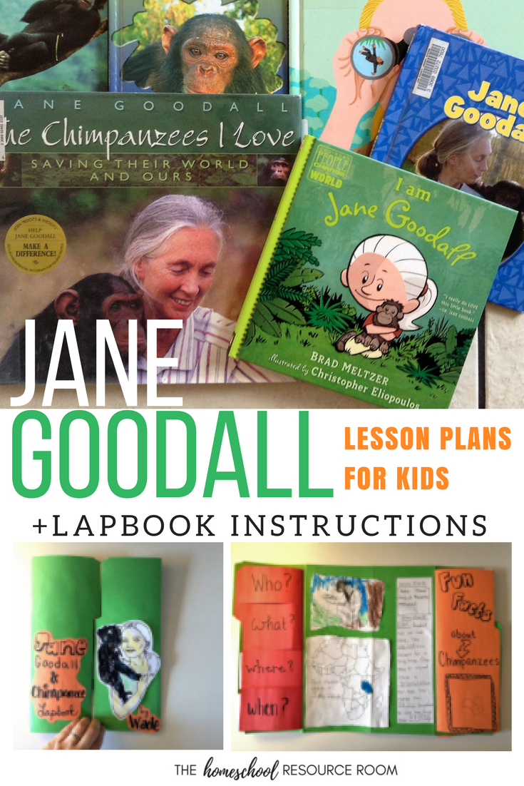 Jane Goodall for kids! Lesson plans with DIY lapbook instructions for a Jane Goodall unit study.