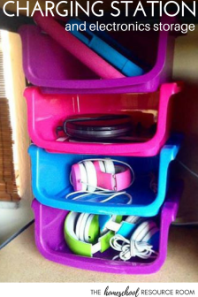 Home organization ideas! Create a charging and electronics station out of stacking containers!