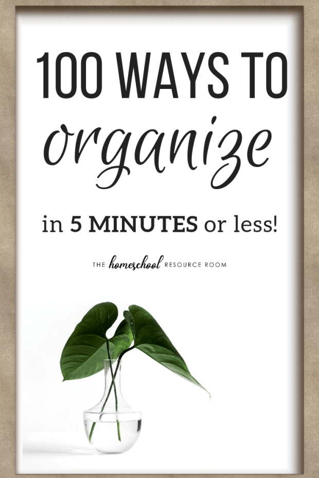 100 home organization ideas that can be done in 5 minutes or LESS! Only have a few minutes here and there? Check out these great organization tips to organize your life!