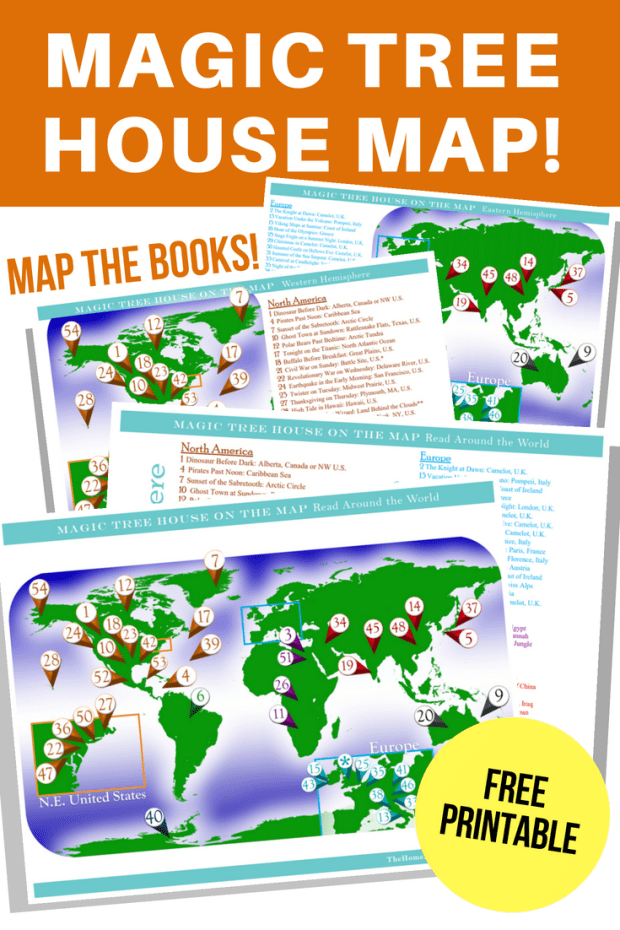 Magic Tree House Map, 8 printable posters for around the world lesson plans.