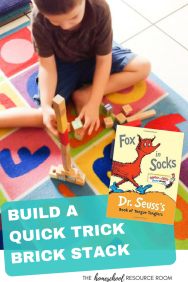 Fox in Socks Activities - Quick Trick Brick Stack