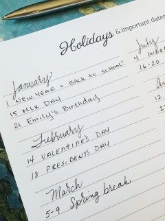 Homeschool Attendance Record Holidays and Special Dates