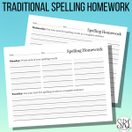 Traditional Spelling Homework