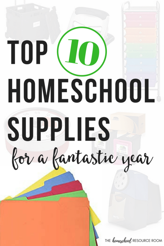 Top 10 Homeschool Supplies to set yourself up for a fantastic homeschool year. Do you get excited over homeschool organization and new school supplies? I do. These fantastic tools are the exact ones I use in my own homeschool!