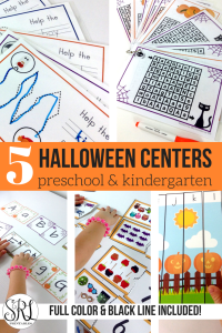 Halloween centers for kindergarten and preschool. Hands on halloween themed activities including Halloween mazes, Halloween letter cards, Halloween counting activities and more!