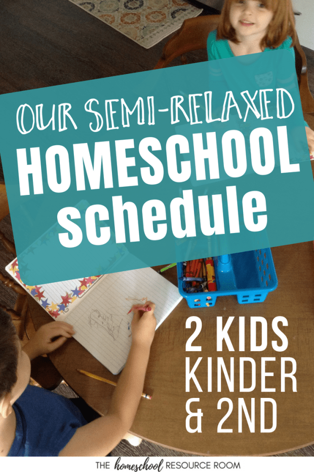 A look inside a daily homeschool schedule for two kids -kindergarten and second grade. A little structure and a little relaxed. A balanced approach to our homeschool routine.
