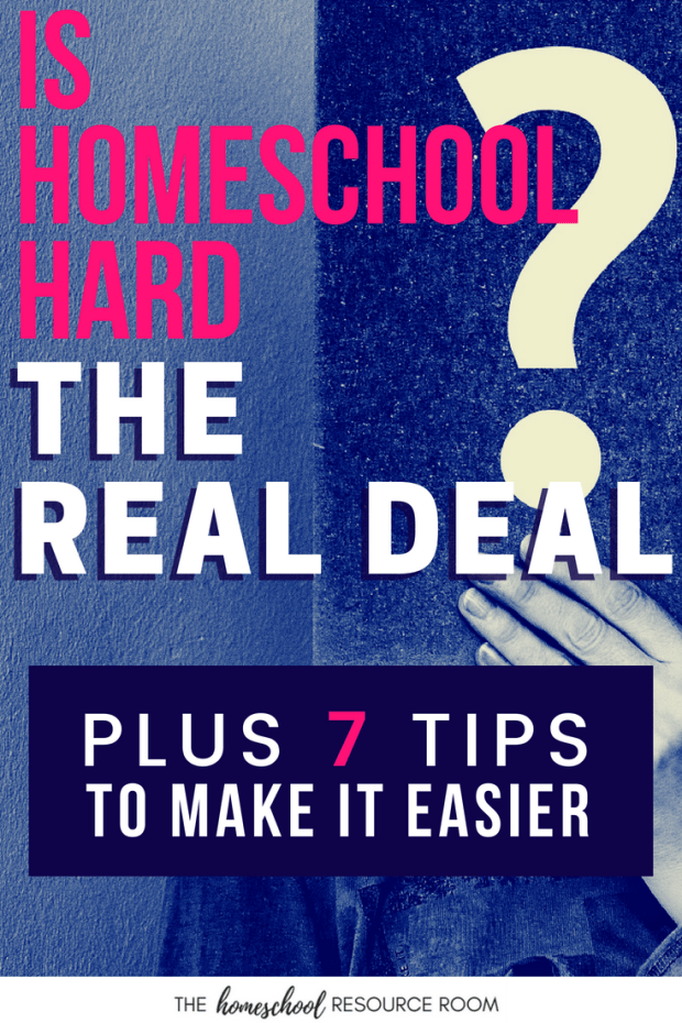 Is homeschooling hard? Get the real deal plus tips on what you can do to make it a little easier. For those considering homeschool, homeschooling parents feeling burnt out, and any homeschool mom that needs a little reassurance.