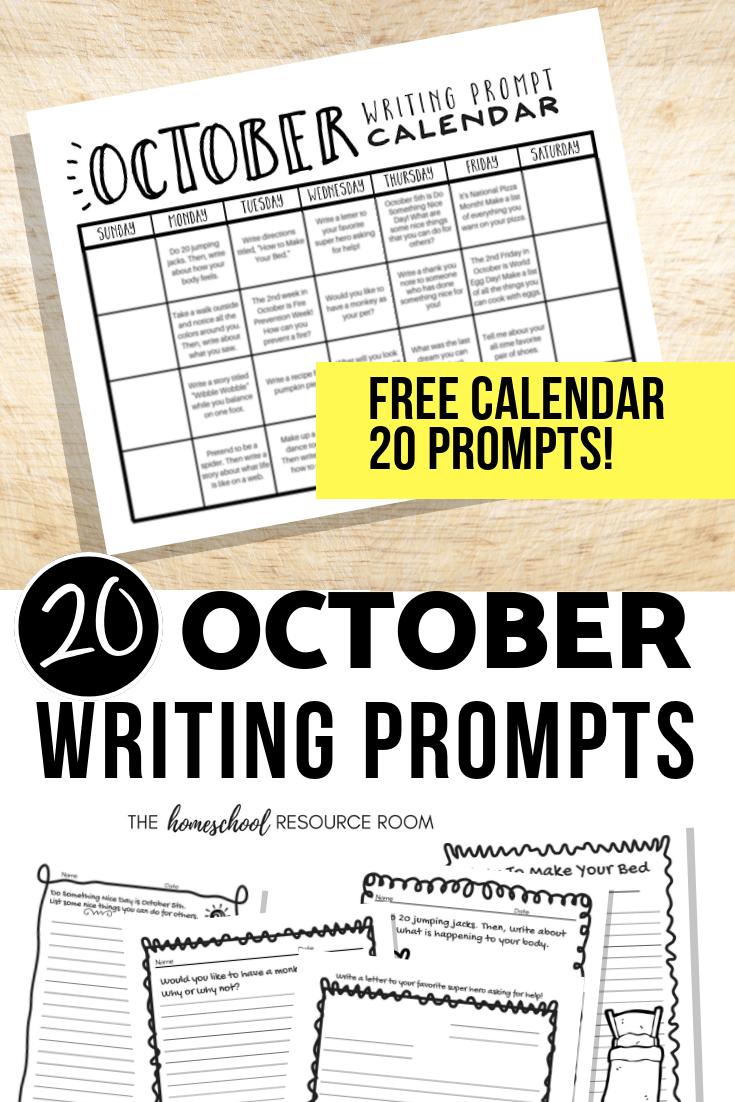 medium resolution of October Writing Prompts: FREE Printable Calendar - The Homeschool Resource  Room