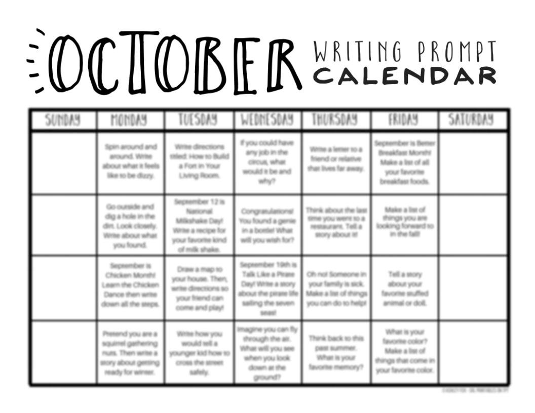 photo regarding Free Printable Writing Prompts called Oct Composing Prompts: Free of charge Printable Calendar The