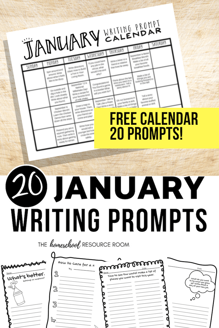 medium resolution of January Writing Prompts: FREE January Writing Prompt Calendar! - The  Homeschool Resource Room