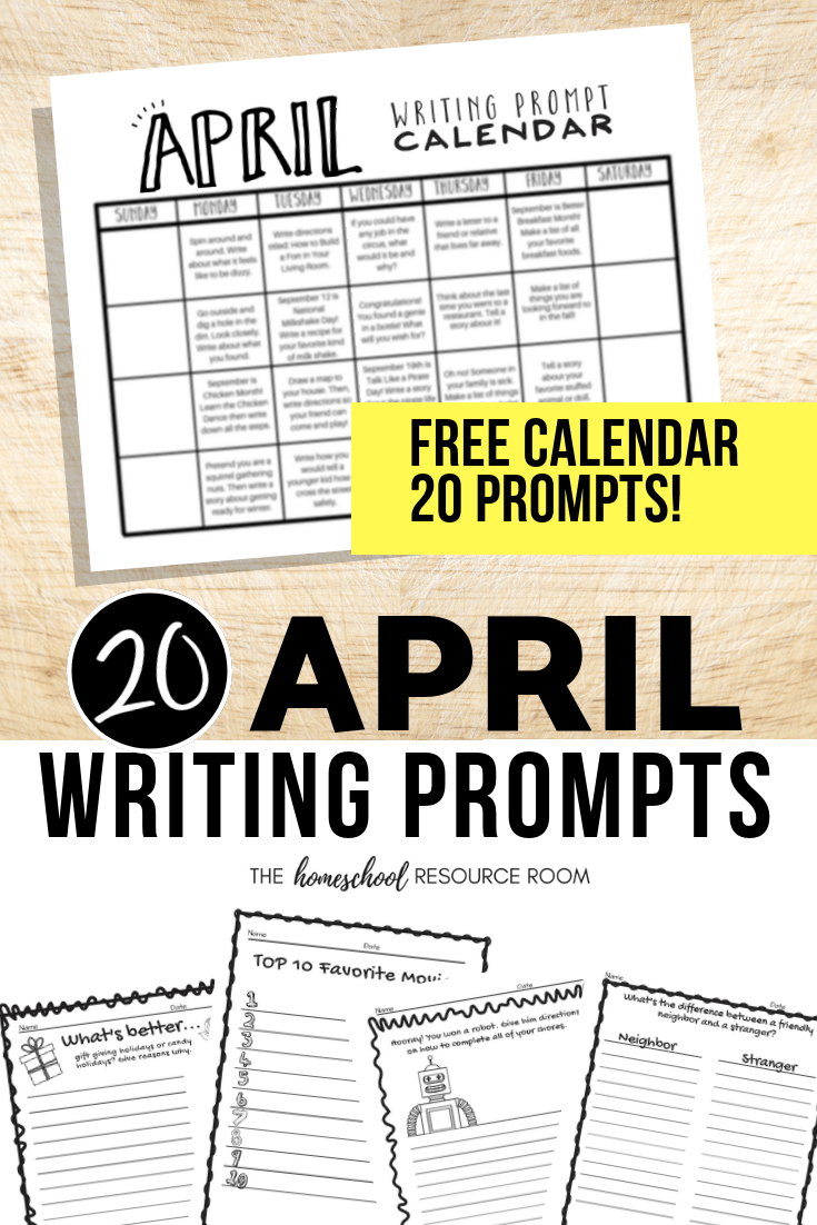 medium resolution of April Writing Prompts: FREE April Writing Prompt Calendar! - The Homeschool  Resource Room