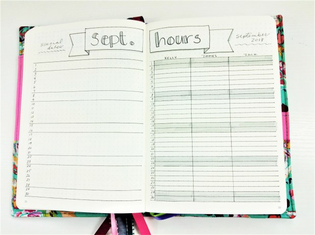 Homeschool Bullet Journal, tracking hours