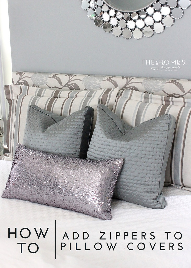 how to add zippers to pillow covers