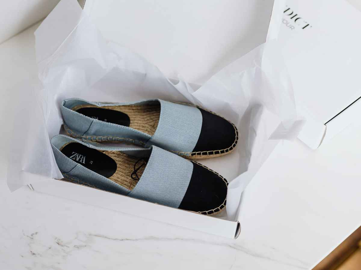 stylish espadrilles pair in carton box