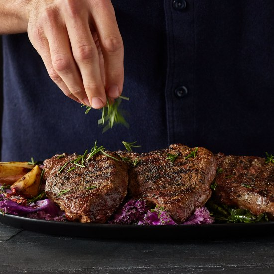 elk ribeye steak with herbs