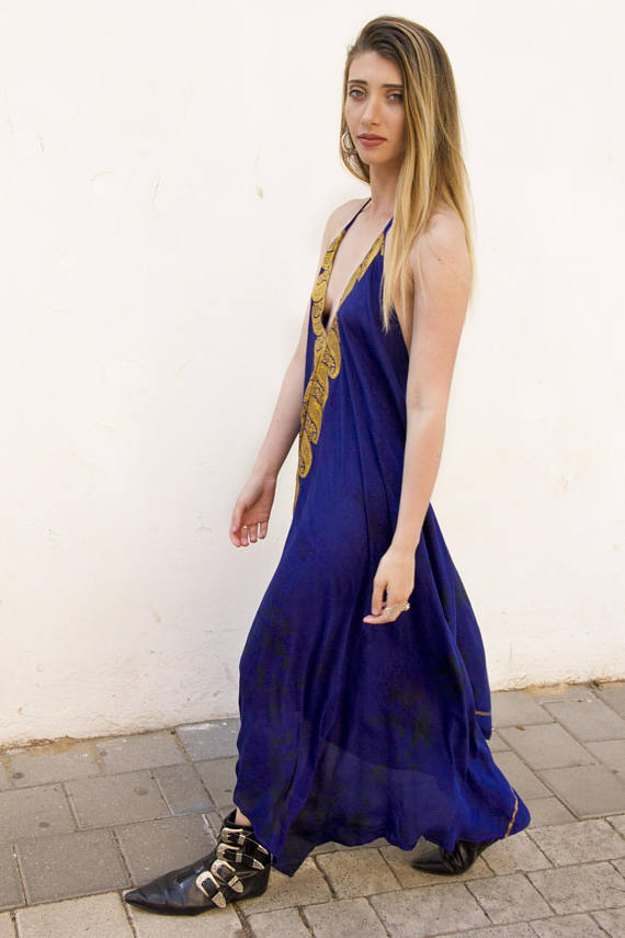 blue handmade silk dress on tall model