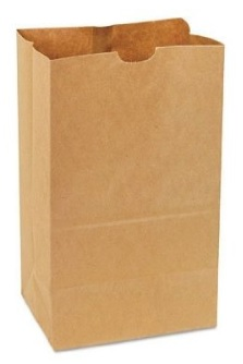 brown handle-less paper shopping bag.