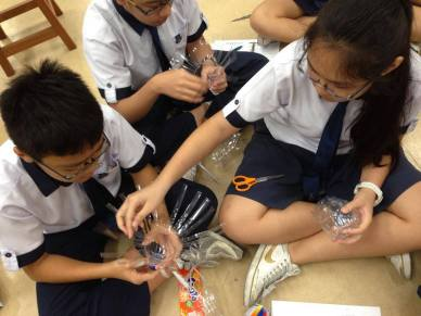 Working with plastic bottles are just one of the classes conducted with schools.