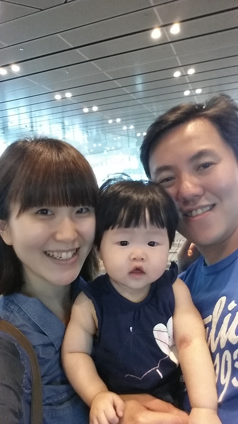 our first family selfie before boarding the plane to Taiwan with baby V