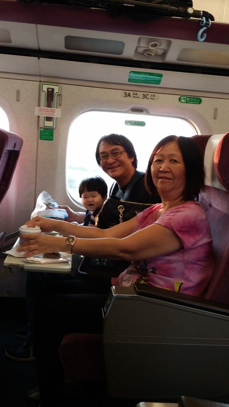 Baby V on the Taiwan HSR with my parents