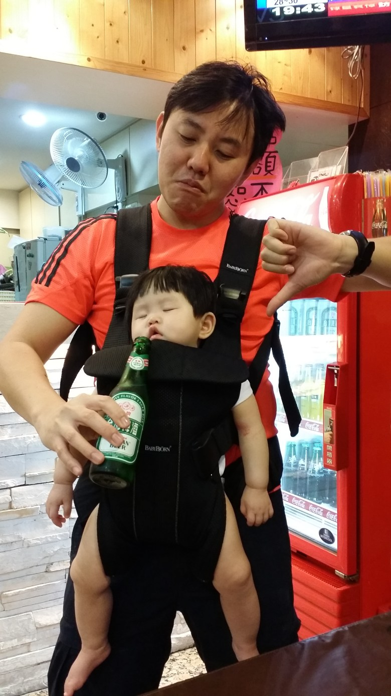 feng jia night market beer taiwan with baby