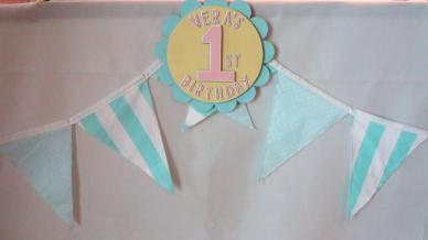 Daddy's nifty works! Bunting taken from baby's room décor. keke!
