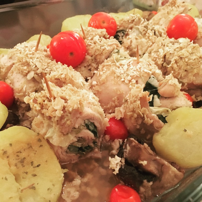 Baked Stuffed Chicken Roulade with Oats Recipe