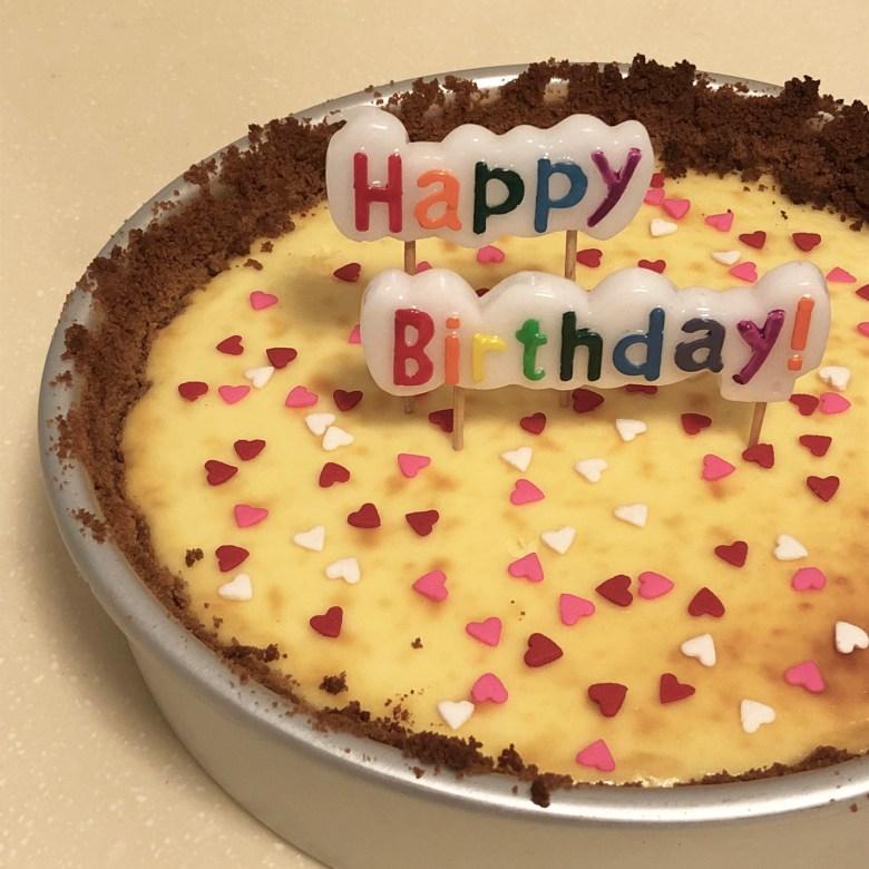 homebaked birthday cheesecake for husband