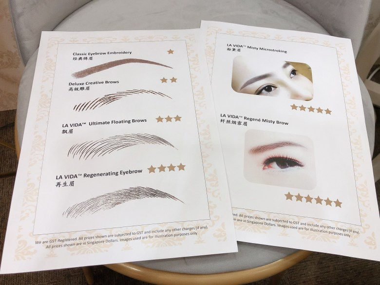 LA VIDA eyebrow embroidery services in Singapore