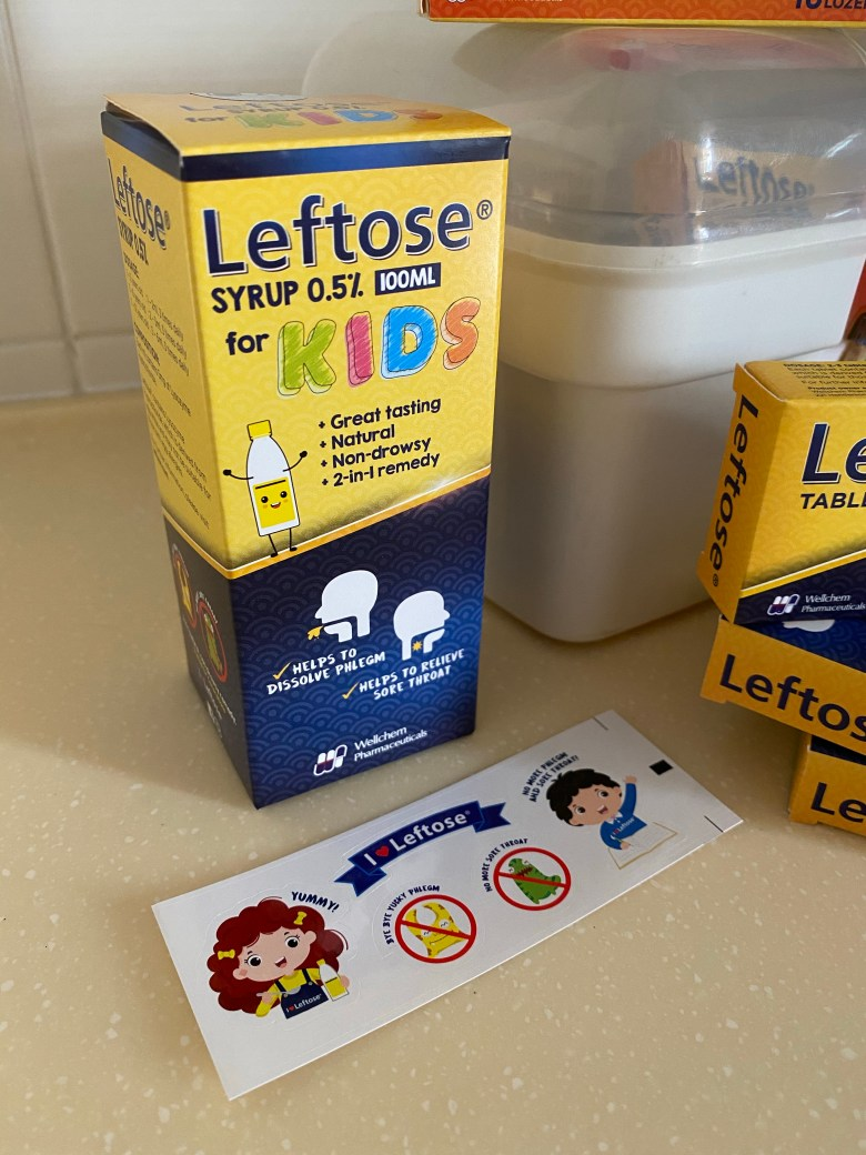 leftose syrup for kids sore throat