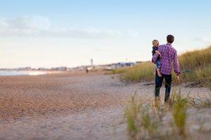 walking, beach, family