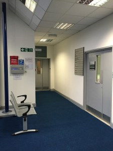 Hospital corridor and waiting area