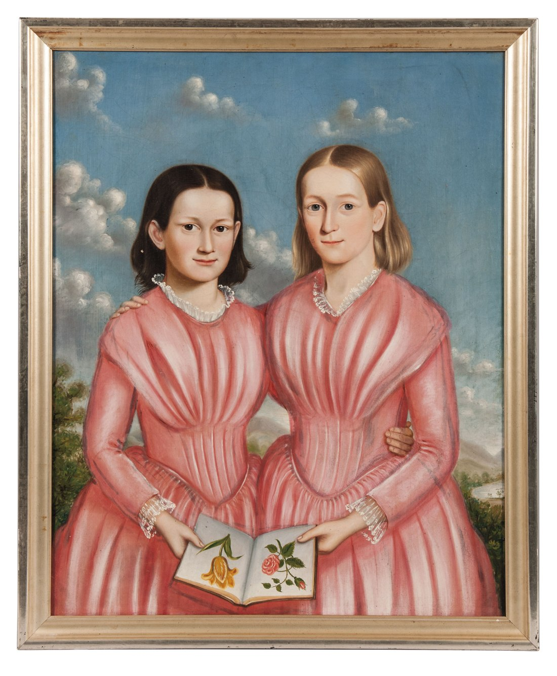 A double portrait of sisters Mary Elizabeth and Caroline Brackett of Newton, Mass., painted between the 1830s and the 1840s.