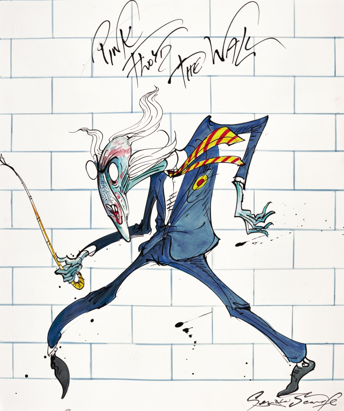 The Teacher, a signed, undated pen, ink, and watercolor drawing by Gerald Scarfe.