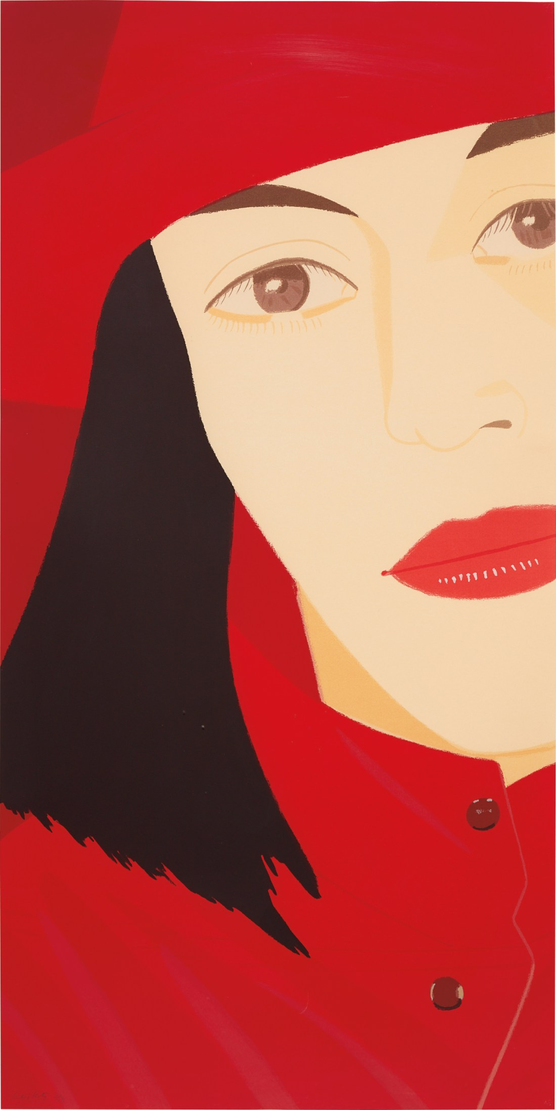 Red Coat, a 1983 limited edition screenprint co-published by artist Alex Katz and Simca Print Artists. It is number 70 of 73, and there were 12 artist's proofs.