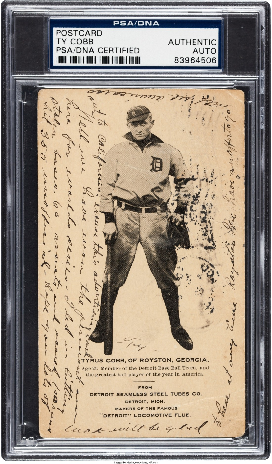 A 1907 Seamless Steel Tubes postcard picturing Ty Cobb in his rookie year. Cobb wrote a message on it and mailed it from Chicago on October 7, 1907, the day before he played in the World Series against the Cubs, who ultimately won in four games.
