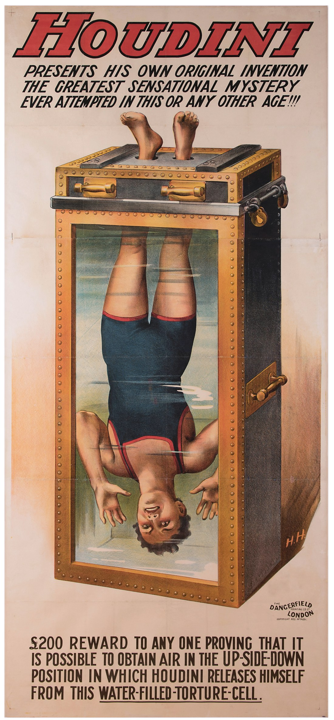 A 1912 poster touting Harry Houdini performing his famous water torture cell escape. It was printed in London one year after Houdini invented the trick, and it has a B+ condition rating. Potter & Potter sold it in February 2017 for $114,000--an auction record for any magic poster.