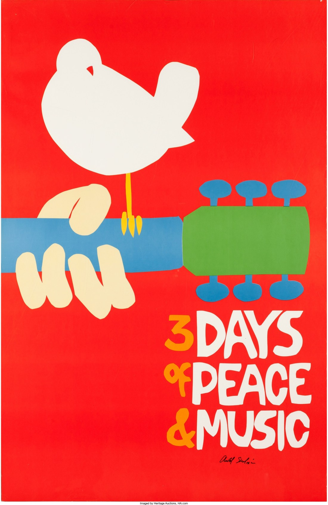 An original 1969 Woodstock concert poster that shows just the artwork--no small text--and is signed by Arnold Skolnik, the artist who designed it.