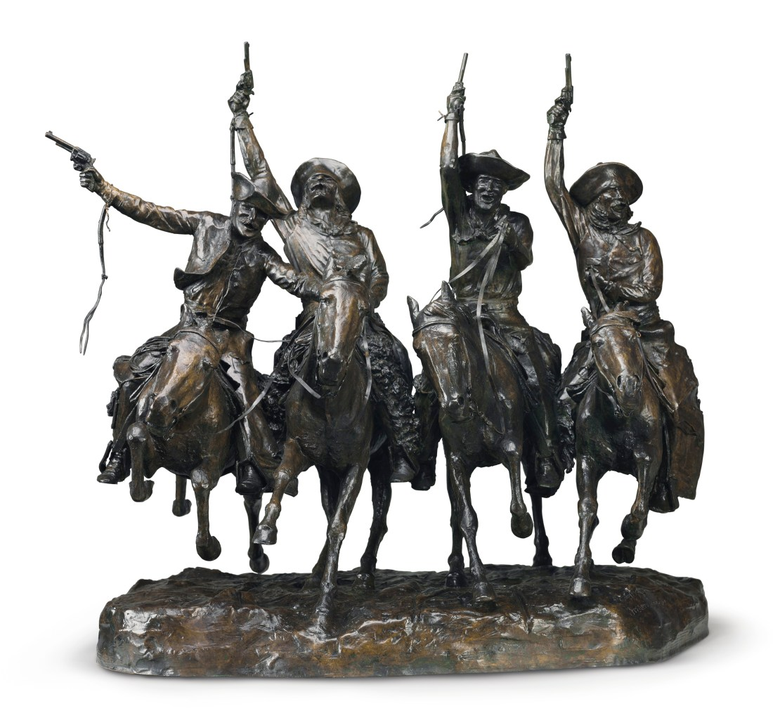 A 1906 cast of Coming Through the Rye, a bronze by Frederic Remington. Christie's sold it in May 2017 for $11.2 million against an estimate of $7 million to $10 million. It set a world record for the artist at auction as well as a record for an American sculpture that predates World War II.