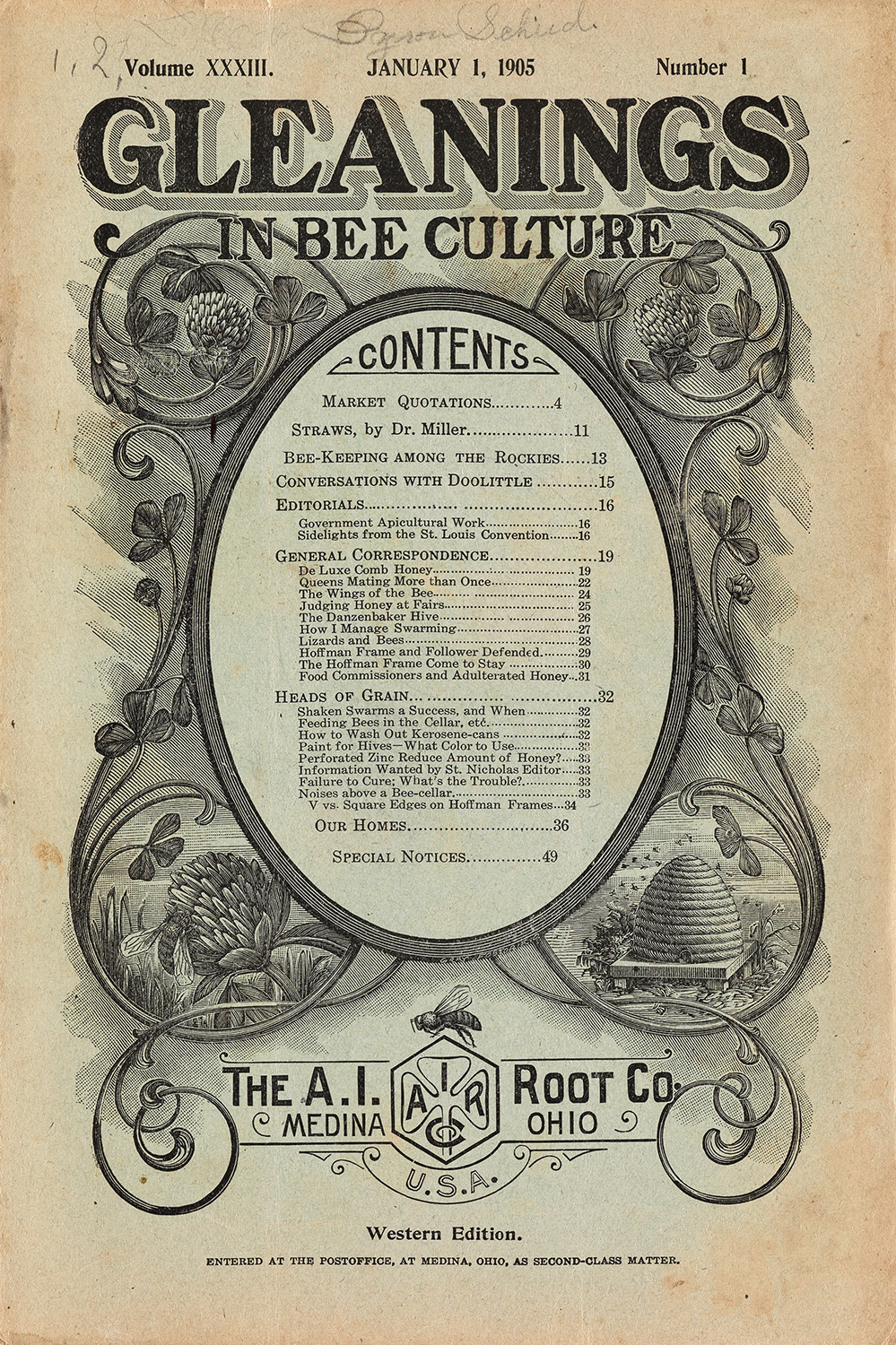 The cover of the January 1, 1905 issue of Gleanings in Bee Culture, from an early 20th-century group of 14 issues of the specialist magazine.