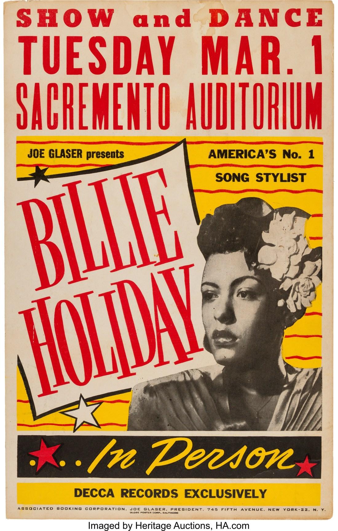 A vintage 1949 concert poster for jazz singer Billie Holiday.