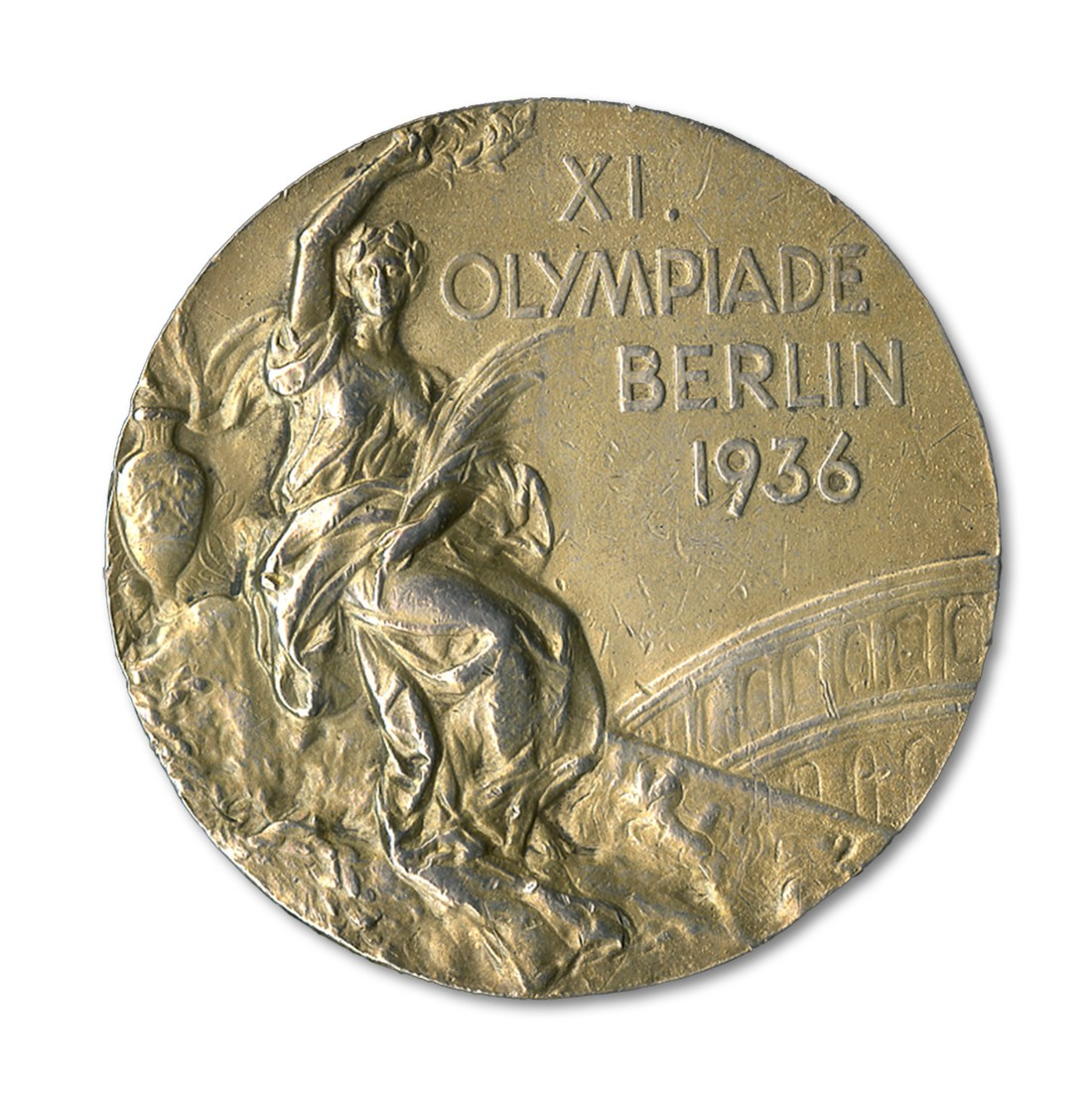 A 1936 Olympic gold medal, one of four earned by Jesse Owens during the Berlin games. SCP Auctions sold it in 2013 for $1.46 million, a world auction record for any piece of Olympic memorabilia.