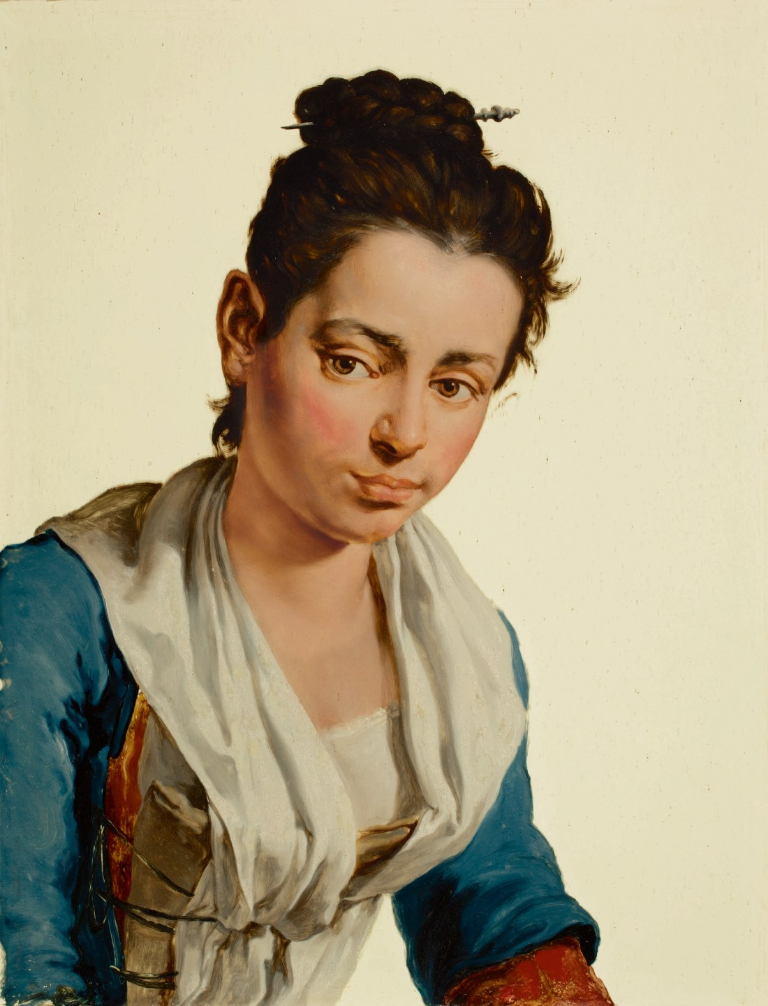 Portrait of a Young Countrywoman, Half Length, an oil on glass painted in the late 1720s or early 1730s by Giacomo Ceruti, who also went by the name Pitocchetto.