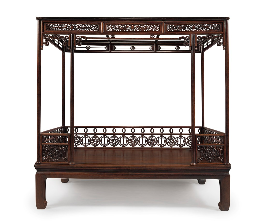 A very rare Huanghuali six-poster canopy bed, dating from the 17th to the 18th century.