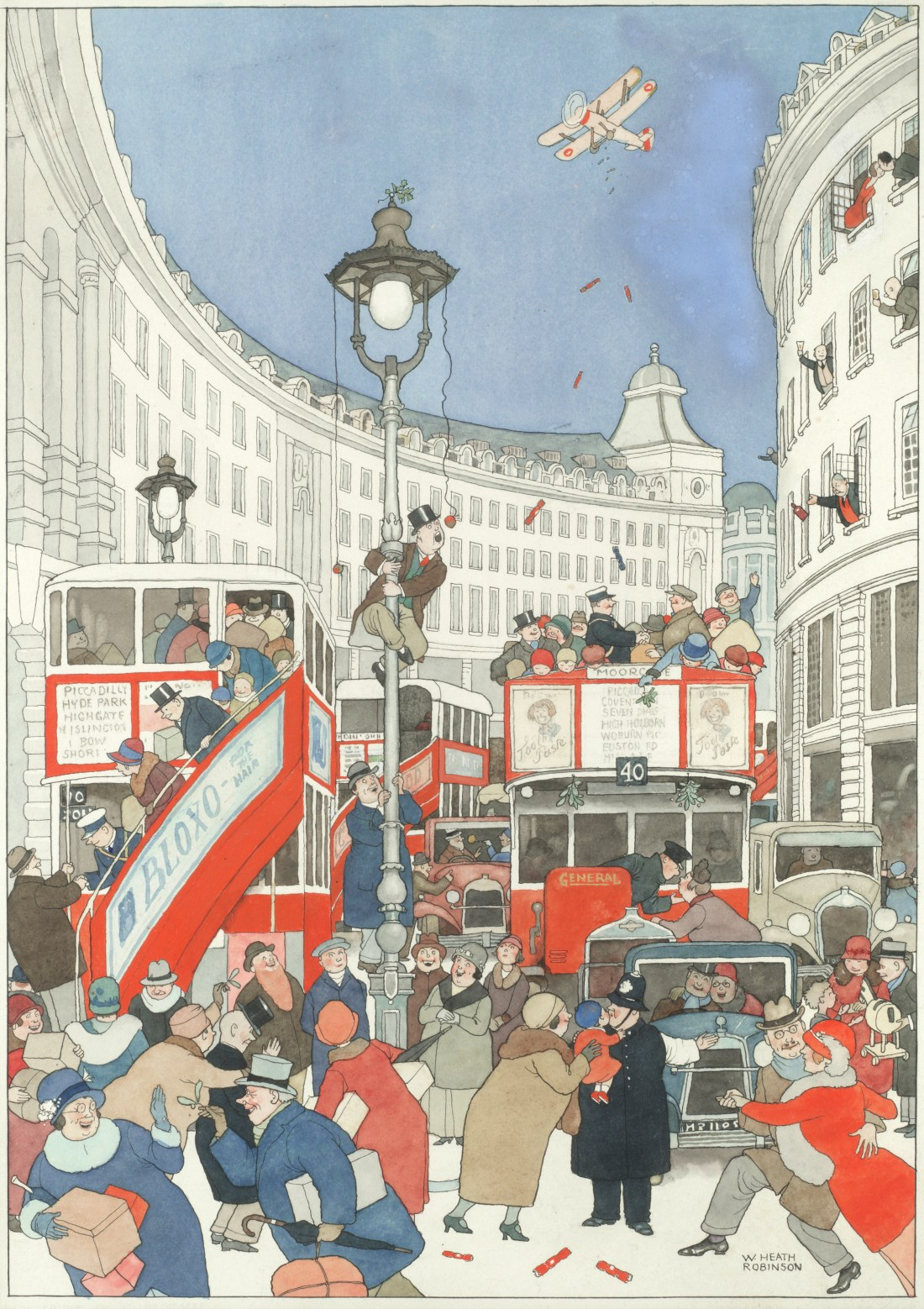 WILLIAM HEATH ROBINSON (BRITISH, 1872-1944) The Spirit of Christmas in Regent Street signed 'W. HEATHROBINSON' (lower right) pen and ink and watercolour 43 x 30cm (16 1516 x 11 1316in).