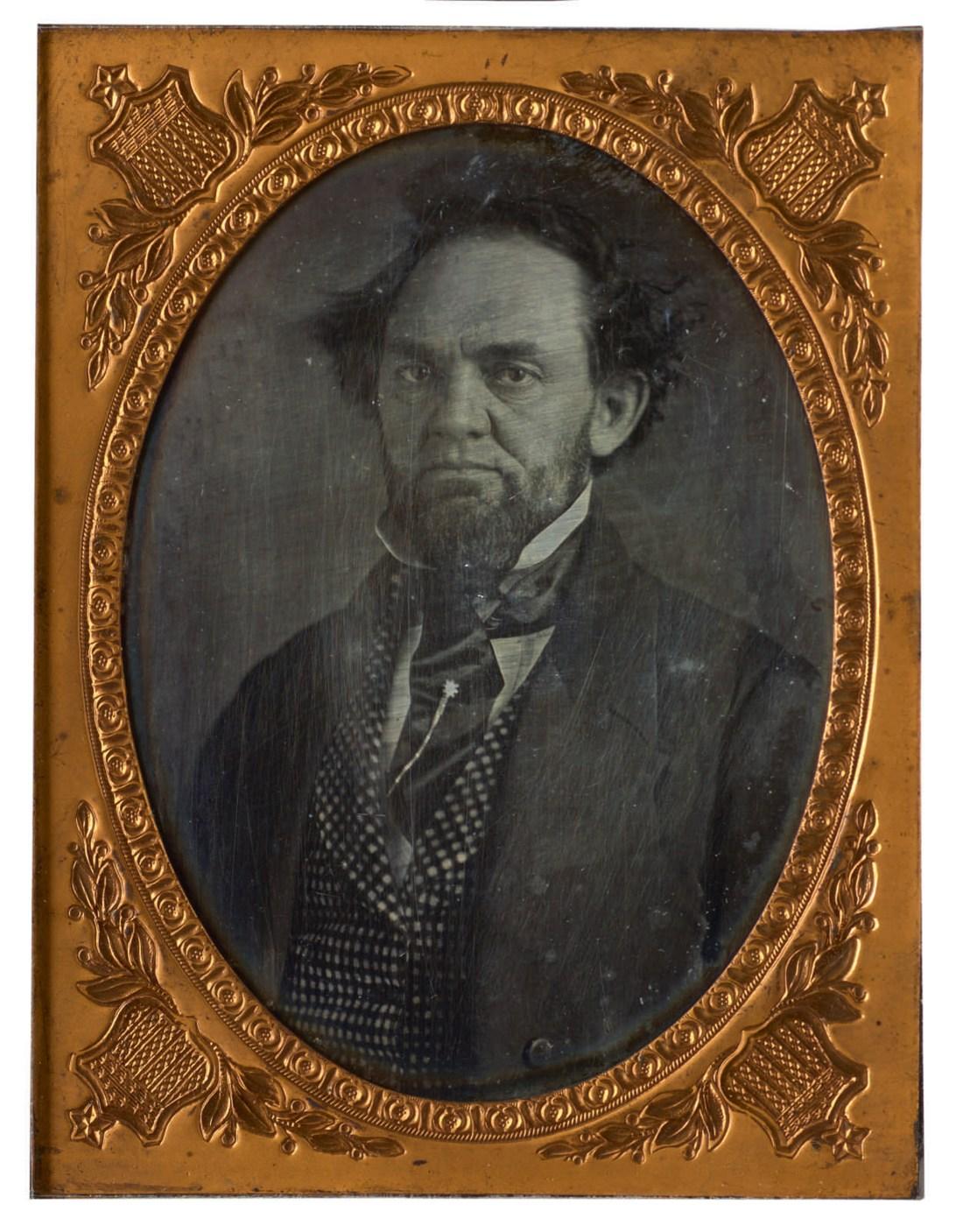 An 1851 daguerreotype of Phineas Taylor (P.T.) Barnum in its original metal case, shot in Cincinnati, Ohio by Thomas Faris.