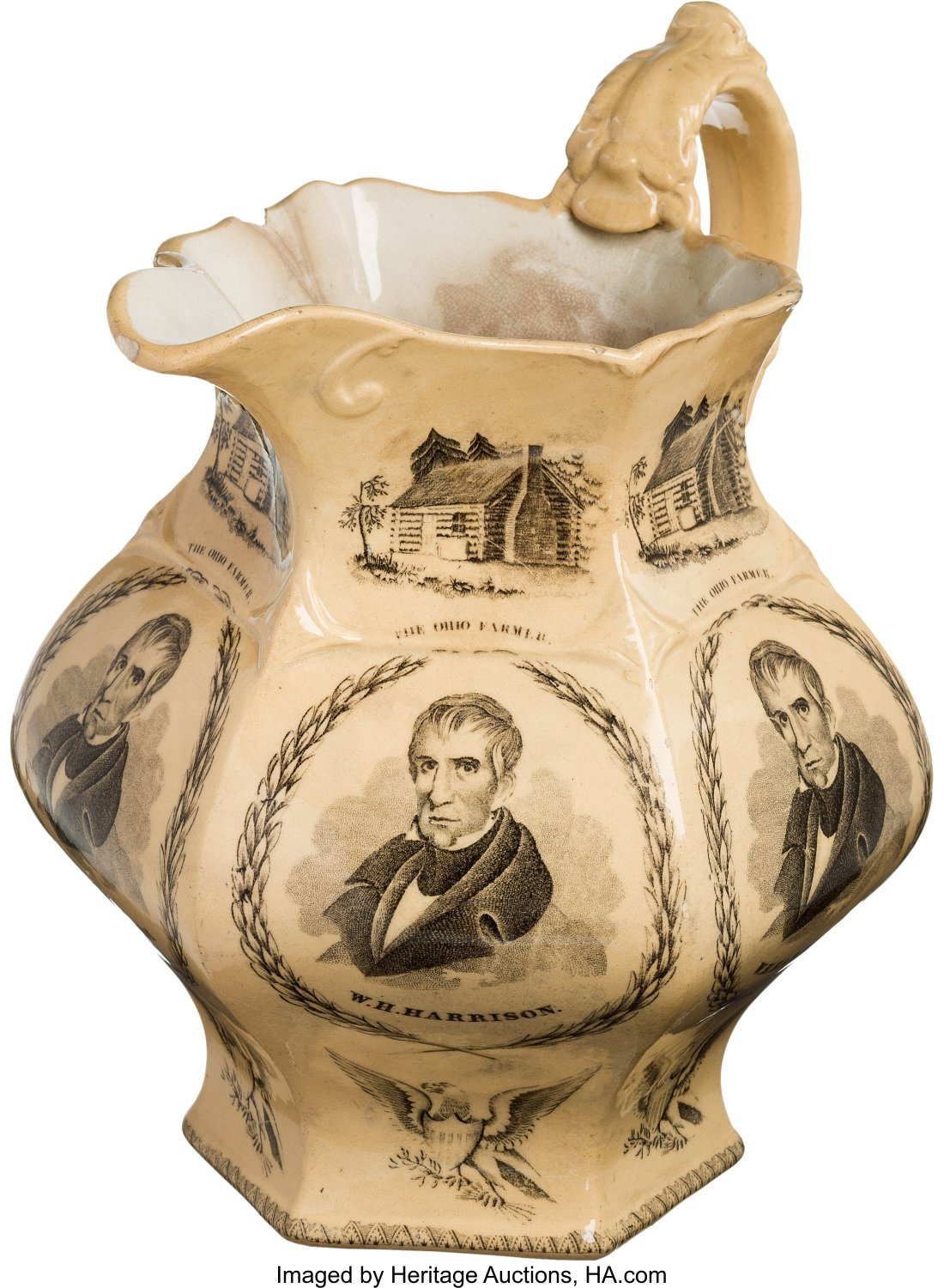 A large (almost a foot tall) ceramic pitcher touting Whig candidate William Henry Harrison's 1840 campaign for president.